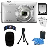 513lFDaKjFL. SL160  Nikon COOLPIX MP Digital Camera (Silver) + 8GB SDHC + Camera Case + Accessory Kit S3500 20.1