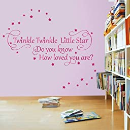 Twinkle Twinkle Little Star 2 - Nursery Wall Quote Decal Sticker (Color: Purple Size: Medium)