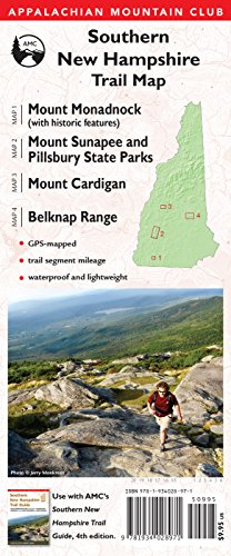 Southern New Hampshire Trail Map: Mount Monadnock (with historic features) / Sunapee and Pillsbury State Parks / Mount Cardigan / Belknap Range (Appalachian Mountain Club)