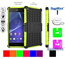 buy Sony Xperia Z2 Case,Sony Z2 Case,Supmax™ *Hybrid Rubberized* *Tpu+Pc* [Scratchproof] [Shock Proof] [Skidproof] Impact Resistant Hard Shell With Kickstand [Gifts] For Sony Xperia Z2 (Green)