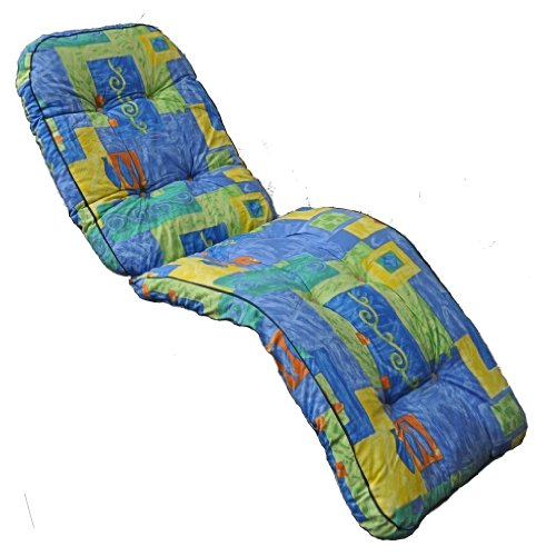 Brand New Replacement Garden Recliner Relaxer Chair Boxed Cushion Blue & Yellow Pattern