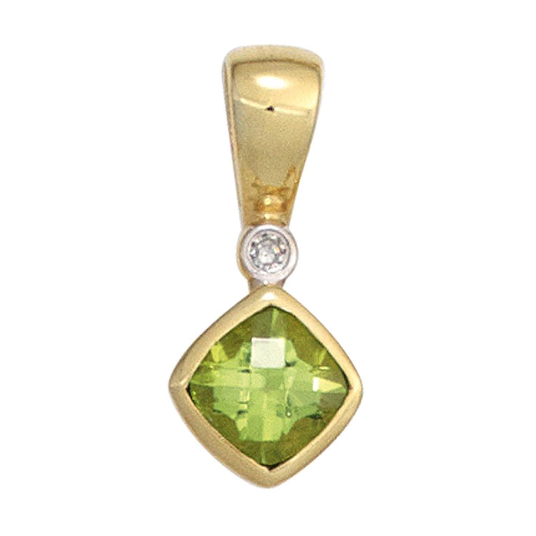 Damen Gold Anhänger 333 Gold Gelbgold 1 Peridot 1 Diamant 0,01ct. 1 Peridot grün