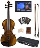 Cecilio CVA-600 16-Inch Ebony Fitted Highly Flamed 1-Piece Back Intermediate Solid