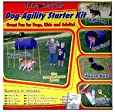 Kyjen DG40100 Dog Agility Starter Kit with Dog Tunnel Weave Pole High Jump Obstacles, Large, Red