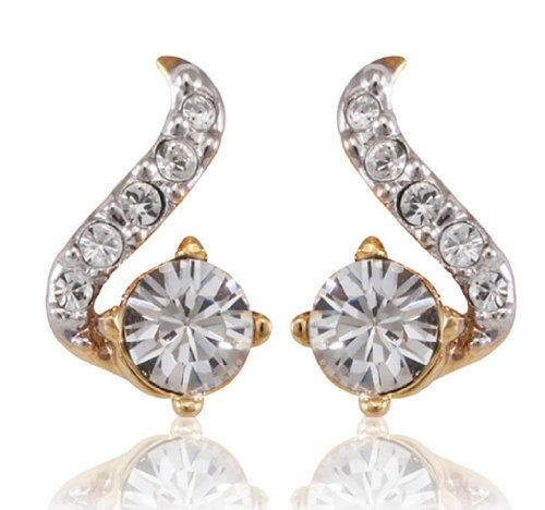 Lifestyle Infinity Lifestyle Gold Plated Crystal Curved Earring For Women (723342G) (Transperant)