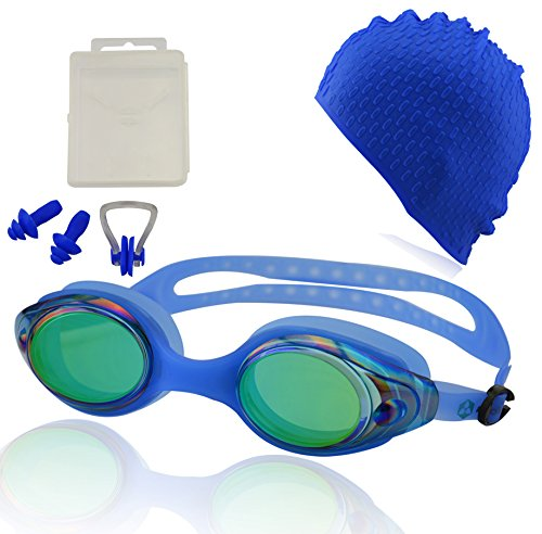 Occhialini da nuoto »Snake« + cuffia + tappi per le orecchie + stringinaso + 100% protezione raggi UV + anti-appannamento. Silicone di pregiata qualità + confezione rigida. AF-600m, blu