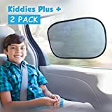Car Sun Shade (2 Pack) with static cling. Blocks Harmful UV Rays and protects against cancer + FREE carry bag + 4 FREE suction cups. Suitable for baby - car window - windshield - train and home