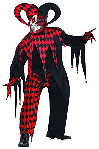 Krazed Jester Halloween Adults Fancy Dress Costume Mens Evil Circus Clown Outfit