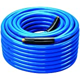"""Amflo 554-100A Blue 300 PSI Premium PVC Air Hose 3/8"""" x 100' With 1/4"""" MNPT End Fittings And Bend Restrictors"""