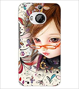 PrintDhaba Girl with Spectacles D-4161 Back Case Cover for HTC ONE M9 PLUS (Multi-Coloured)