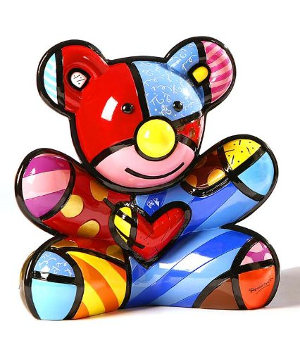 Romero Britto Cuddly Bear Bank W/ Rubber Stopper - 1