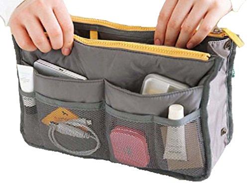 Women Travel Insert Handbag Organiser Purse Large Liner Organizer Tidy Bag-Gray