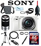 Sony Alpha A6000 A 6000 ILCE6000L/W ILCE6000L ILCE-6000L ILCE 6000L w/ 16-50mm Lens (White) + Sony E 55-210mm F4.5-6.3 Lens (Silver) 32GB Deluxe Accesory Kit