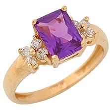 buy 14K Yellow Gold Simulated Alexandrite Prong Set Cz Ladies June Birthstone Ring