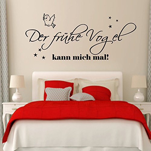 wandtattoo schlafzimmer der fr he vogel kann mich mal 120cm x58 cm sterne wandsticker. Black Bedroom Furniture Sets. Home Design Ideas