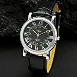 Men'S Round White Black Roman Numerals Dial Pu Leather Band Quartz Analog Wrist Watch Black