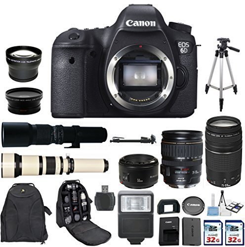 Canon EOS 6D 20.2MP Full Frame DSLR with Canon EF 28-135mm f/3.5-5.6 IS USM + Canon 75-300mm Zoom Lens + Canon EF 50mm f/1.8 II Lens + 500mm Preset Telephoto Lens + 650-1300mm Zoom Lens Bundle (Dial Canon 6d compare prices)