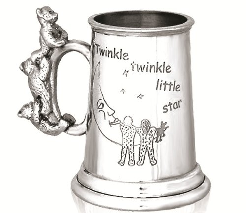Personalised Engraved Baby Gift - A Stunning Pewter Christening Tankard - 'Twinkle Twinkle Little Star' Design featuring a Cute Teddy Handle - Ideal Christening Gift