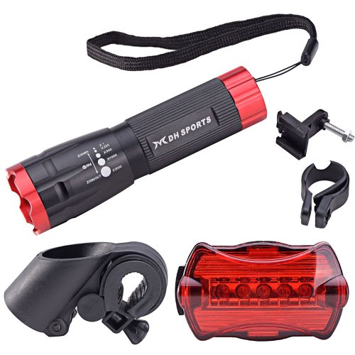 Mudder Bicycle Light Combo Front And Rear (Super Bright Led Head Light, 5 Led Tail Light, Mount Rack Included)