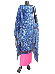 GiftPiper Unstitched Bagru Print Cotton Suit- Blue&Pink