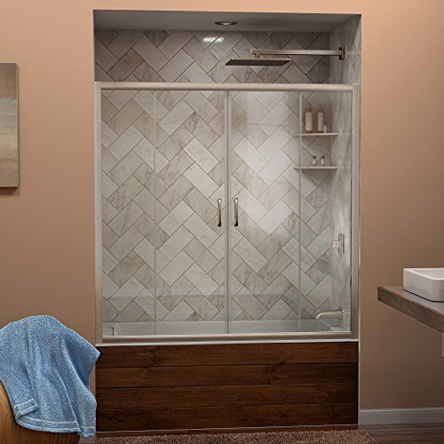 DreamLine Visions 56-60 in. Width, Frameless Sliding Tub Door, 1/4