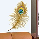 StickersKart Wall Stickers Oh Dreamy Peacock Feather (Wall Covering Area: 70cm x 60cm)