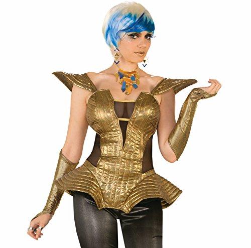 Futuristic Gold Corset Outer Space 80s Retro Disco Women Costume Accessory Black (Futuristic Space Costume compare prices)