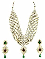 Bridal Jewellery Set Red & Green Colored Seven Line Drop Shaped Reverse AD Necklace Set