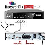 NEW FULL HD COMBO 1080p Freeview HD + FreeSat HD Satellite Receiver Tuner + RECORDER For Digital TV Set Top Box Digi Box Terrestrial SCART + HDMI Input FREE TO AIR RECEIVER(OVER 100 Freeview & Over 300 FreeSat Channels & 50-60 Digital Radio Stations . DVB-T2 + DVB-S2 HD 1 YEAR WHATEVER HAPPENS REPLACEMENT WARRANTY (UK SELLER)