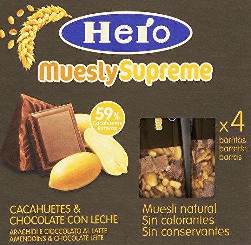 Hero - Muesly Supreme, Barretta di Cereali con Arachidi e Cioccolato al Latte, Pacco da  4X24 g, totale: 96 g