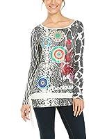 Desigual Bella - T-shirt - Imprimé - Col bateau - Manches longues - Femme