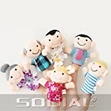 SODIAL(R) Cute 6pcs Family Finger Puppets - People Includes Mom, Dad, Grandpa, Grandma, Brother, Sister Free Cable Tie
