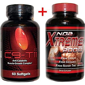 C9-t11 2.0 Conjugated Linoleic Acid Highest Potency Muscle Strength Workout 60 Softgels and Free Bottle of NO2 2000 Xtreme 90 Capsules