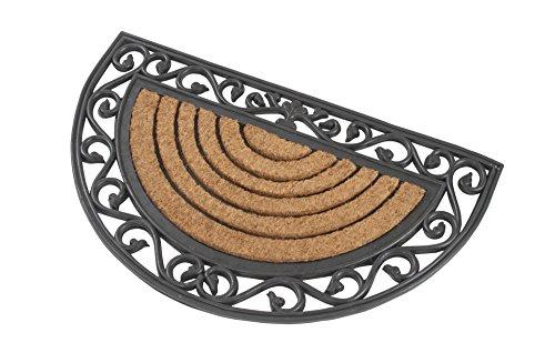 1 x halbrunde Fußmatte *Premium 3 Kilo schwer* aus Gummi und Kokos 76 x 46 cm für repräsentative Eingangsbereiche