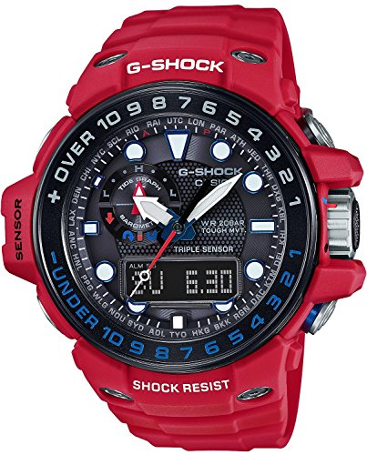 Casio G-Shock Gulfmaster Black Dial Red Resin Quartz Men's Watch GWN1000RD-4A (Casio Red Dial Watch compare prices)
