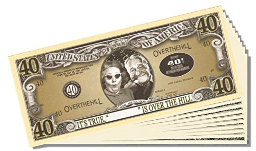 Over the Hill (40 Years Old) Million Dollar Bill - 10 Count with Bonus Clear Protector & Christopher Columbus Bill