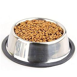 Yosoo Stainless Steel No tip Anti-Skid Dog Cat Puppy Pet Food Water Bowl water Dish ( 16cm )