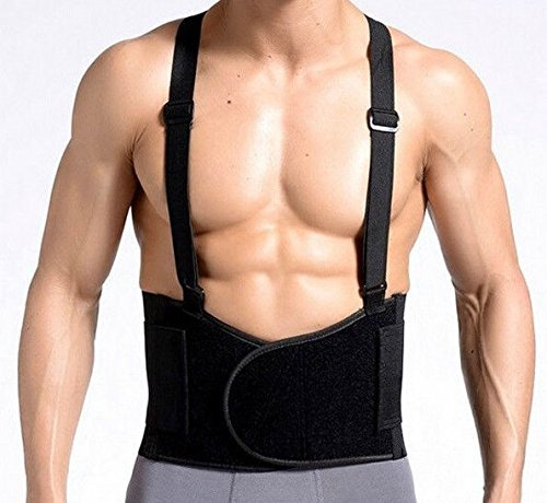 Back Brace Lumbar Support with Adjustable Suspenders, front Velcro