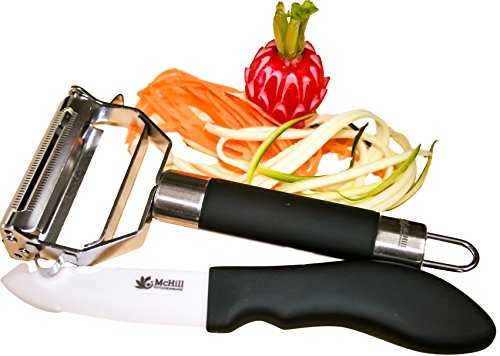 JULIENNE PEELER & PARING KNIFE SET - Multi 4-in-1 Stainless Steel Potato Peeler - EASY Grip Handle-Vegetable Peeler - Kitchen Utensil - Plus Bonus Paring Knife