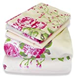 Couture Home Collection Azalea Floral Printed 100 % Wrinkle Free Cotton Sheet Set (Queen, Cream)