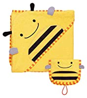 Skip Hop Zoo Baby Infant and Toddler Soft Cotton Hooded Bath Towel and Mitt Washcloth Set, Two Pieces, Yellow / Black, Brooklyn Bee from Skip Hop