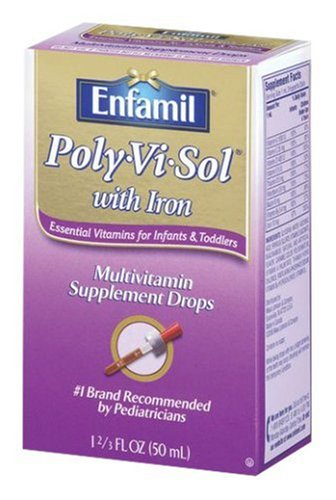 Enfamil Poly-Vi-Sol Multivitamin Supplement Drops with Iron for Infants and Toddlers, 1.67-Ounce Bottles (Pack of 2)