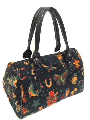 Us Handmade Skulls Tattoo Day Of The Dead Halloween Doctor Bag Satchel Handbag Purse Cotton, Drb1151
