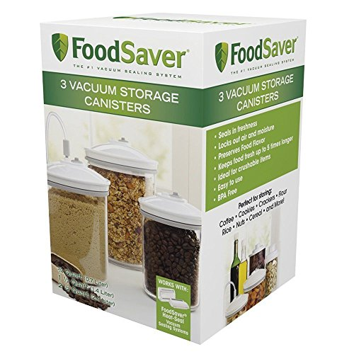 FoodSaver 3/4, 1-1/2, and 2-1/2-Quart Round 3 Piece Canister Set, 3-Pack, New, Free Shipping (Foodsaver Vac 1050 compare prices)