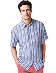 Blue Harbour Pure Linen Multi-Striped Shirt