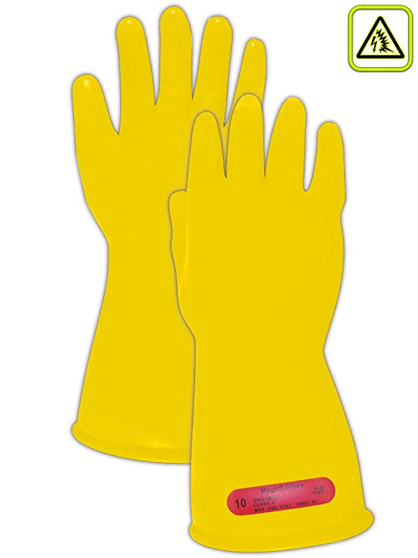 Magid Glove & Safety M-0-11-Y-9 Magid Class 0 Electrical Gloves, Capacity, Volume, Rubber, 9, Yellow (Color: Yellow, Tamaño: 9)
