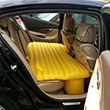 Lalawow Car Backseat PVC Inflatable Bed Airbed Air Bed Overnighter With Pump For Travelling Long Driving Tourism Outdoor Camping Swimming Pool (Yellow)