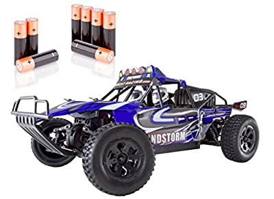 Redcat Racing Silver Combo - Sandstorm Baja Electric Buggy, Blue, 1/10 Scale - PLUS - 8 AA Alkaline Batteries
