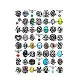 SEXY SPARKLES (セクシー スパークル) (10のビーズ ミックス)シルバー チャーム、クリスタル ビーズ チャーム、ムラーノ ガラス ビーズ、ヨーロピアン スタイル ブレスレット用スペーサーの詰め合わせパック。