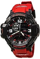 Casio G-Shock Aviation Black Dial Red Resin Quartz Men's Watch GA1000-4B